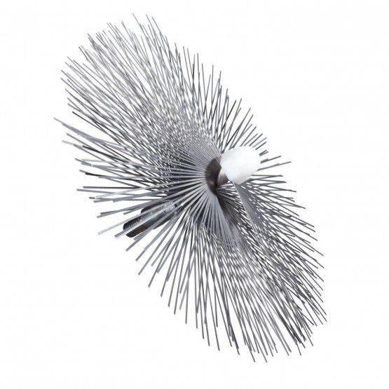 Threaded brush 35 cm Ø, 3 layers steel